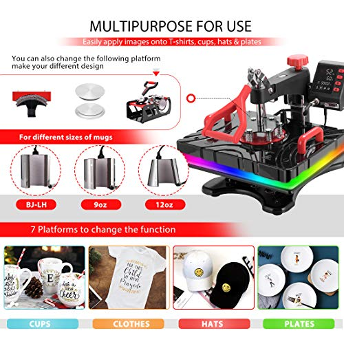 VIVOHOME Upgraded 8 in 1 Combo Multifunctional Swing Away Clamshell Printing Sublimation Heat Press Transfer Machine for T-Shirt Hat Cap Mug Plate 15 x 12 Inch Red