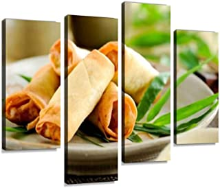 Spring Rolls Canvas Wall Art Hanging Paintings Modern Artwork Abstract Picture Prints Home Decoration Gift Unique Designed Framed 4 Panel