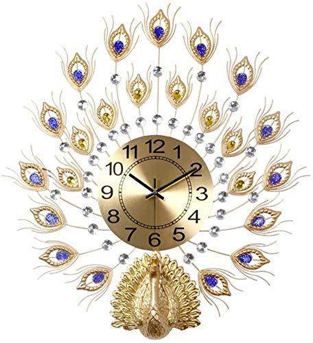 AISHANG Reloj de pared con diseño de pavo real, estilo europeo, de cuarzo, para sala de estar, silencioso, cristal sin garrapatas, B, 57 x 63 cm