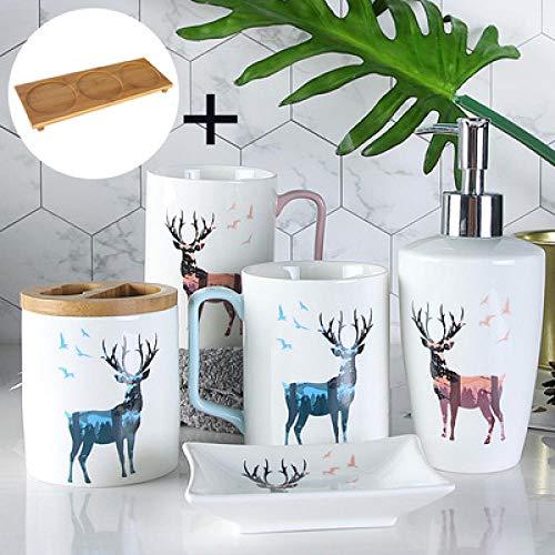 CZOOR Fashion schattige keramische badkamerset met bamboe frame letters hoogwaardige wasriem mok tandenborstel pak huwelijksgeschenken