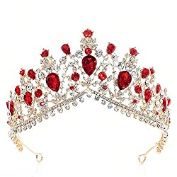 Red Luxurious Rhinestone Bridal Crown Tiara