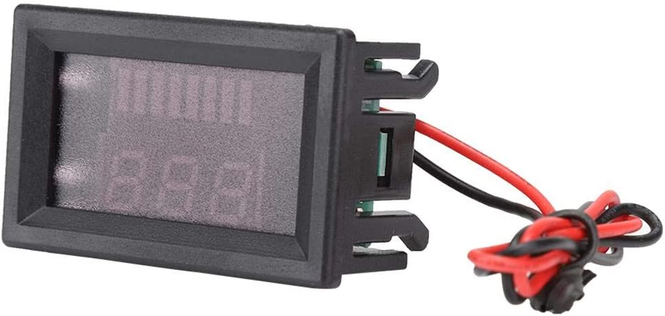 Junluck Professional Battery Voltmeter Display, Digtal Electric Vehicle Display, Electricity DC for 12V-60V Battery Car(red)