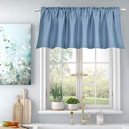 Energy Efficient Valance for Windows Rod Pocket Room Darkening Durability Topper Curtains Valance 18 Inch Length for Bedroom Living Room,52Wx18L,Single Panel,Vintage Dusty Blue