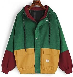 ZAFUL Women's Vintage Color Block Jacket Hooded Raglan Sleeve Oversized Corduroy Outwear