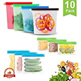 GEHARTY Reusable Silicone Food Storage Bags 10 Pack
