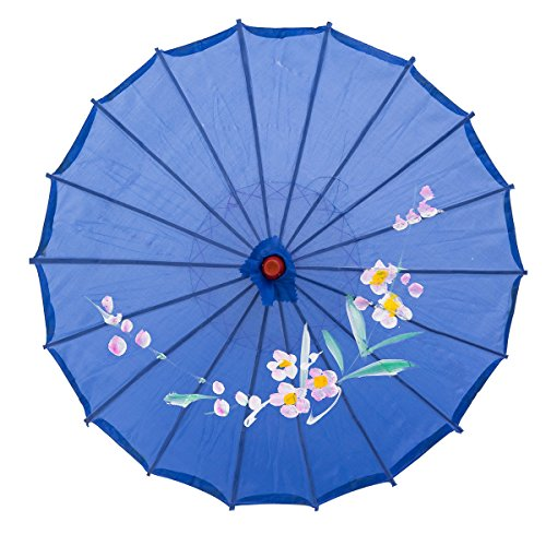 THY COLLECTIBLES 22 Kids Size Japanese Chinese Umbrella Parasol for Wedding Parties, Photography, Costumes, Cosplay, Decoration and Other Events (Blue)