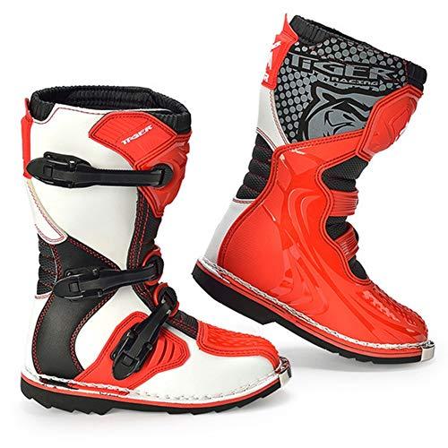 AJL Zapatos de la Motocicleta blindado Largo Tobillo protección contra choques - Botas de Moto niño, al Aire Libre rotación niños de la Ciudad Urbana Botas Anti Skid Suela de Goma (Size : 32)