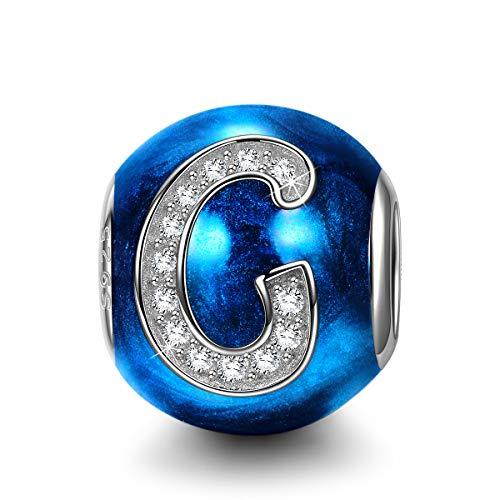 NINAQUEEN Charms per Pandora Charm Nuovo Ciondolo Lettera G Blu Argento 925 Regalo Donna Zirconia Smalto Compatibile con Charms Bracciali Europei, con Confezione Regalo