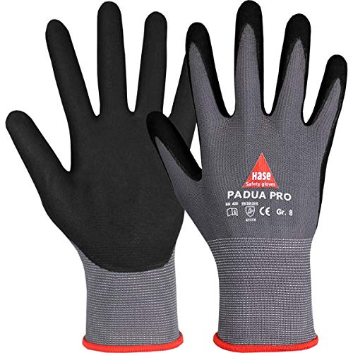 10 Paar Hase Safety Padua Pro Nitril-Arbeitshandschuhe, Rutschfeste Mechaniker-Handschuhe Größe L (09)