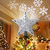 iTrunk Christmas Tree Topper Lighted Star with Rotating Snowflake Projector 3D Hollow Glitter Lighted Silver Tree Topper for Christmas Tree Decorations
