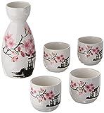 Set di 5 bicchieri giapponesi da sake, dipinti a mano con fiori di ciliegio, in porcellana, bicchieri da vino in ceramica tradizionale