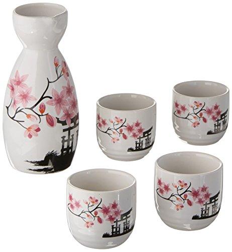 Japanisches Sake-Set, Porzellan, Weiß