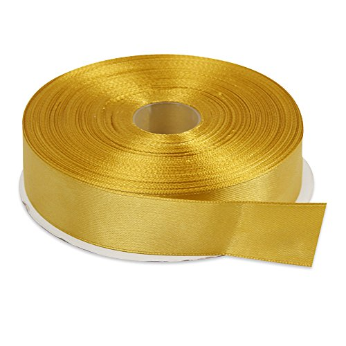 Topenca Supplies 1 Inch x 50 Yards Double Face Solid Satin Ribbon Roll, Gold