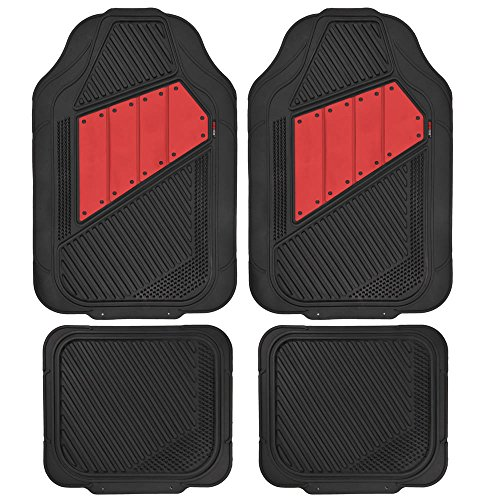 Motor Trend FlexTough 2 Tone Rubber Car Floor Mats for Auto - Heavy Duty All Season Black & Red