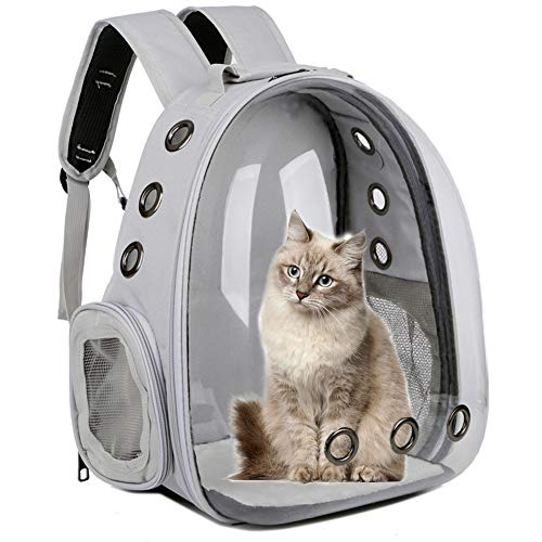 Cat Backpack Carrier Bubble,Large Transparent Pet Backpack Bag,Portable Ventilated Carry Backpack for Dog Cat Puppy Animals Outdoor Travel Walking-Double Shoulder Pet Carrier Backpack Grey