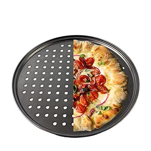 Bandeja antiadherente para pizza con agujeros, 30 cm, acero al carbono binaural de 40 cm, con agujeros, para hornear, cocina, horno, restaurante