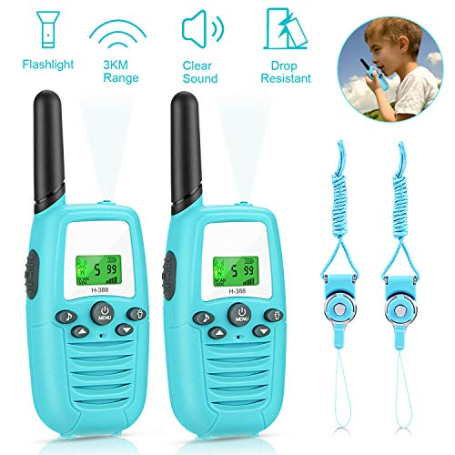 Gifort Walkie Talkies Kinder, 16 Kanäle 3KM Reichweite Radio mit Taschenlampe und LCD Bildschirm Vox-Funktion Walki Talki Kinder