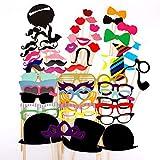 JZK 58 TLG Foto Requisiten Verkleidung Accessoires Schnurrbart Lippen Brille Krawatte Tabakspfeife Hüte Bärte Photobooth Photo Booth Props...