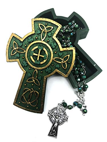 Celtic Cross Keepsake Gold and Green Jewelry Box, INCLUDES Irish St Patrick Rosary with Celtic Cross