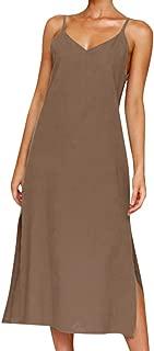 Sling Dress Fashion Women's Summer Evening Dress Beach Skirt Belt Button Long Solid Color Dress MEEYA