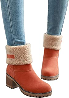 fd597a71a6c Pevor Women s Winter Outdoor Short Suede Shoes Chuncky Mid Heel Round Toe  Faux Fur Warm Snow
