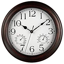 MvchennL 12-Inch Indoor/Outdoor Wall Clock with Thermometer and Hygrometer Combo, Vintage Silent Battery Operated Decorative Clocks