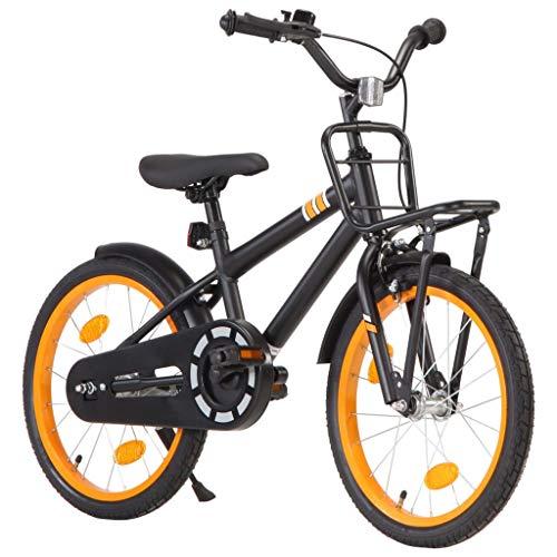 Festnight Bici per Bambini con Trasportino Frontale 18 Pollici Bicicletta Bambini 5-7 Anni Bici per Bambino et Bambina con Ruote di Allenamento Laterali Nero e Arancione/Rosa e Nera