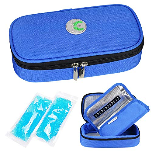 YOUSHARES Borsa Termica per la Penne Insulina, Diabete siringhe, l'insulina, Farmaci e Adrenalina Aghi Con 2 Impacchi di Ghiaccio (Blu)