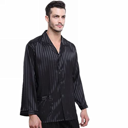 d45e77550d7c Mens Satin Long Button-Down Pajamas Set S M L XL 2XL 3XL 4XL