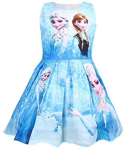 WNQY Princess Elsa Costume Party Dress Little Girls Cosplay Dress up (Blue,100/2-3Y)