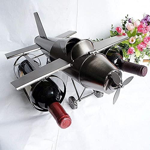 CMMT El botellero Puede Llevar Tres Botellas de Vino y el botellero, artesanías de Metal, decoración del hogar, botellero de avión 42 × 36 × 20cm