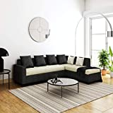 Furny Premion Fabric 5 Seater RHS L Shape Sofa Set (Cream-Dark Grey)
