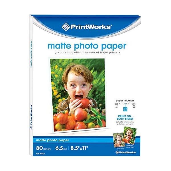 Printworks Matte Photo Paper for Inkjet Printers, Printable on Both Sides, 6.5 mil,...