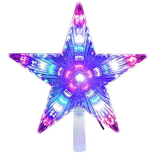 LAWOHO Christmas Tree Topper Star 8.7 Inch 31 LED Treetop Christmas Decoration Light Ornaments Bethlehem Star Multi-Colour Flashing