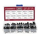 AUKENIEN 10 Values 200Pcs 6 x 6mm Push Tactile Switch Pushbutton Switches 4 Pin Switch Micro Momentary Tact Push Button Assortment Kit for PCB Arduino - 4 Pins DIP Black