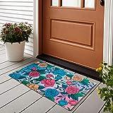 """6. Produtos Profissionais de Elite 29.5""""x 17.75"""" Vibrant Printed Decorative Doormat Non-Slip Door Mat Non-Woven Fabric with Skid-Resistant Rubber Backing Indoor and Outdoor Doormat (Rose Bloom)"""