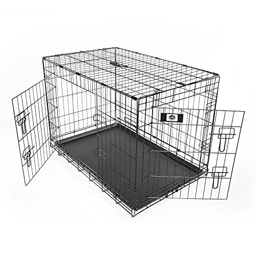 Pet Champion Deluxe 36 Inch Folding Portable 2-Door Wire Pet Crate Kennel, Large, Up to 70 Pounds