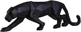 Abstract Leopard Statues Panther Sculpture Hand Craved Animal Resin Geometric Leopard Statue Wildlife Modern Home Decoration Gift Craft Big Black