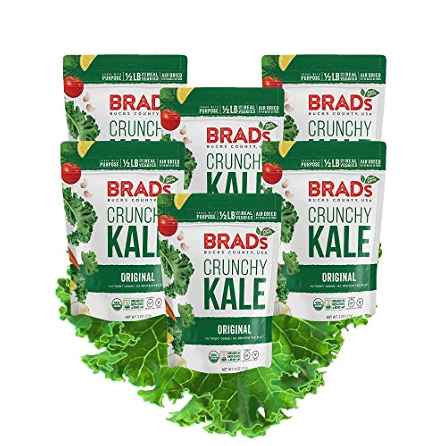 Brad's Plant Based Organic Crunchy Kale, Original, 6Count