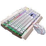 9 teclas multimedia RGB de luz de fondo con conexión de cable óptico del juego del ratón y el teclado USB Set, teclado Longitud del cable: 1,35 m, Ratón Longitud del cable: 1,3 m ( Color : White )
