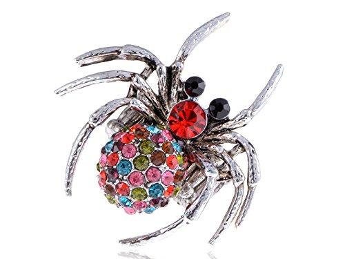 Alilang Zilver Tone Multi Gekleurde Strass Halloween Party Kostuum Spin Ring