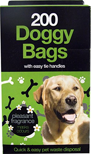 Pack of 200 Scented Doggy Poop Bags with Handles Quick and Easy Pet Waste Disposal