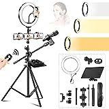 Anillo de luz LED con Trípode, Ring Light de Maquillaje de 10 Pulgadas Regulable 3 Modos de luz para 4 Teléfonos y Micrófono para Video de Youtube, Estudio, Maquillaje