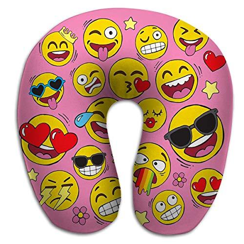 Almohada de Espuma viscoelástica en Forma de U, Transpirable, Suave y cómodo, Conjunto de Iconos de Cara de Emoji Sonriente Amarillo Dibujados a Mano también conocidos como emoticonos Abstractos