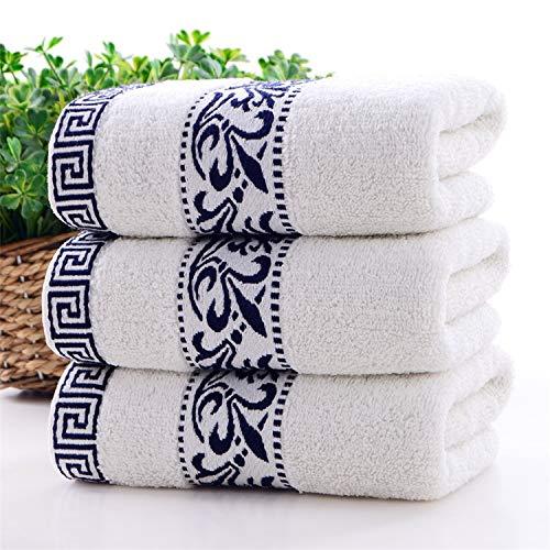 Toalla de algodón grueso azul y blanco