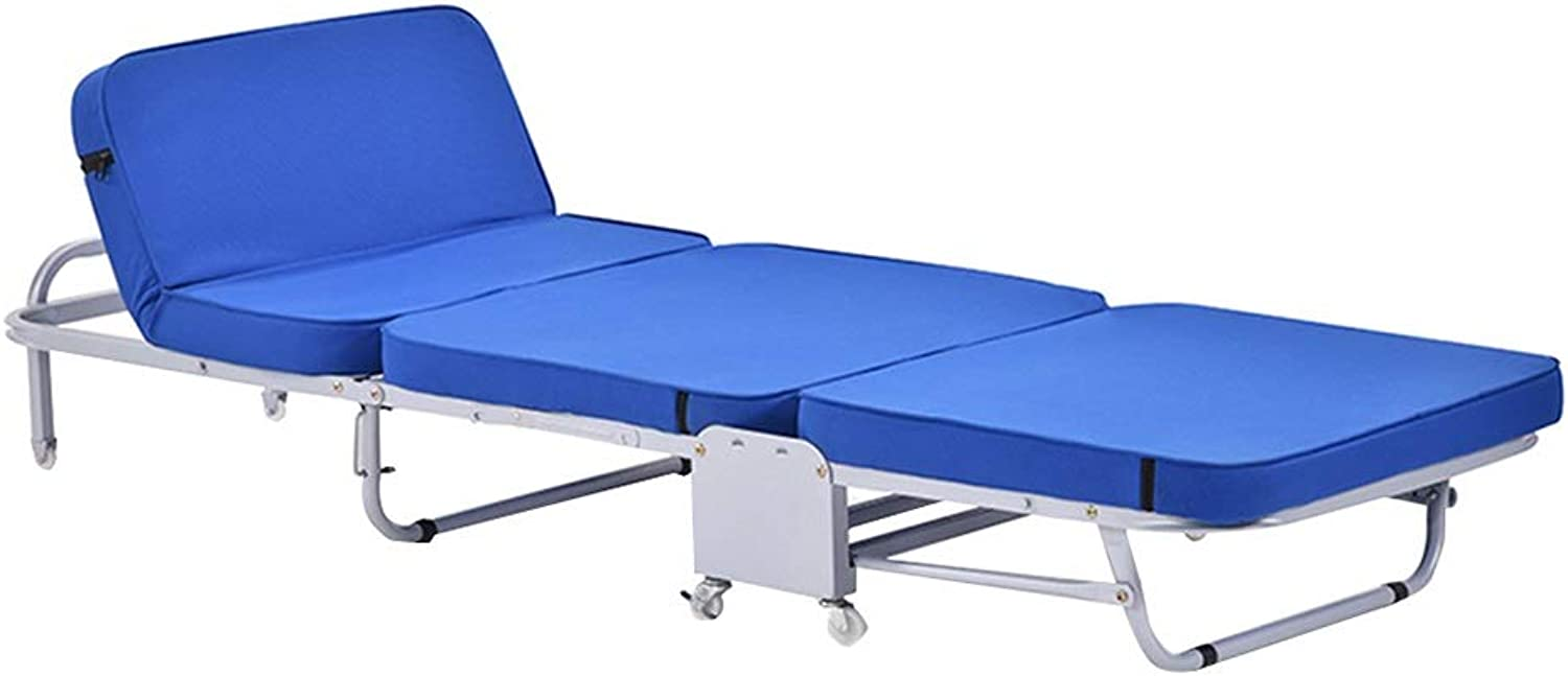 Camping Bed Folding Bed Office Lunch Bed Home Accompanying Bed Single Camp Bed Outdoor Beach Bed Lounge Chair Can Bear 300 Kg (color   blueee, Size   180  66  27cm)