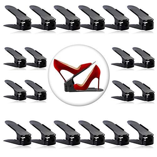 Shoe Slots Organizer, Adjustable Shoe Stacker Space Saver, Double Deck Shoe Rack Holder for Closet Organization (20-Pack)(Black)