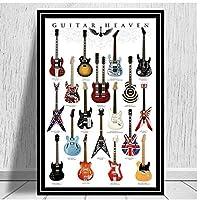 YQQICC 北欧のポスターギター楽器コレクション音楽キャンバスプリント写真壁アート絵画モジュラーリビングルームの装飾-50x70cmフレームなし