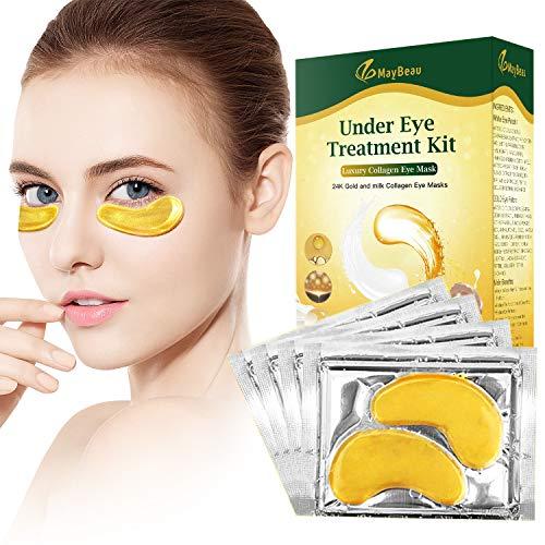 MayBeau Augenpads, Anti-Aging Pads, 20 Paare Kollagen Eye Mask Für Moisturising, Entlasten Sie Müdigkeit und straffe Haut, Entfernen Taschen, Dunkle Kreise & Puffiness Augenpflege mit Hyaluron