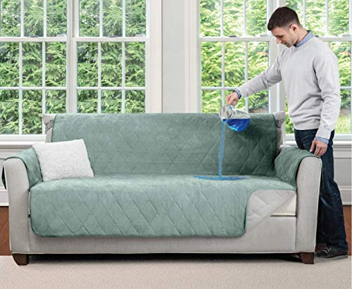 Mighty Monkey Premium Water and Slip Resistant Loveseat Slipcover, Seat Width Up to 54 Inch, Absorbs 4 Cups of Water, Oeko Tex Certified, Suede-Like, Cover for Loveseats, Love Seat, Seafoam
